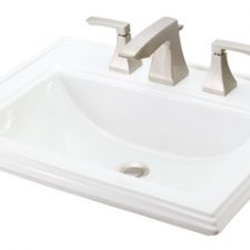 "24"" x 19"" Gerber Logan Square Self Rimming Lav 8"" Centers White Vitreous China (Faucet Sold Separately)"