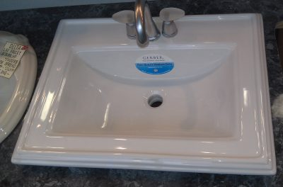 "24"" x 19"" Gerber Logan Square Self Rimming Lav 4"" Centers White Vitreous China (Faucet Sold Separately)"