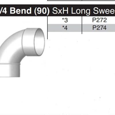 "4"" Long Sweep 90 Degree Sewer & Drain Street Elbow  SxH P274"
