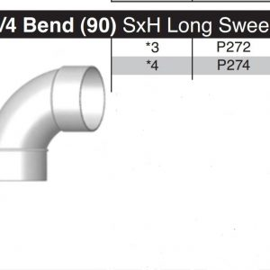 "3"" Long Sweep 90 Degree Sewer & Drain Street Elbow  SxH P272"