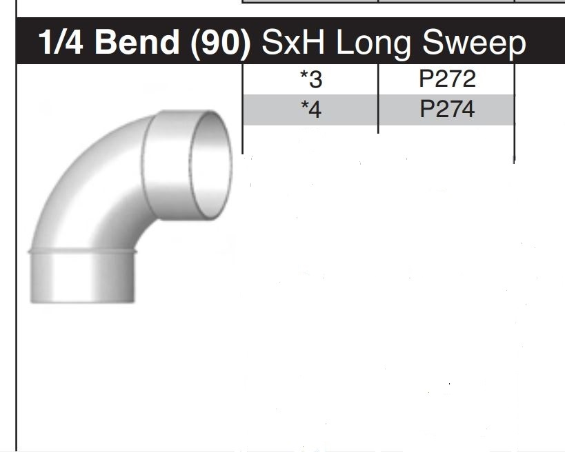 "3"" Long Sweep 90 Degree Sewer & Drain Street Elbow  SxH P272"