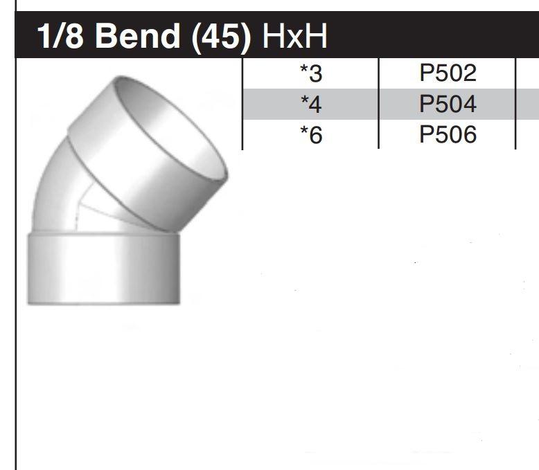 "3"" 45 Degree Sewer & Drain Elbow HxH P502"