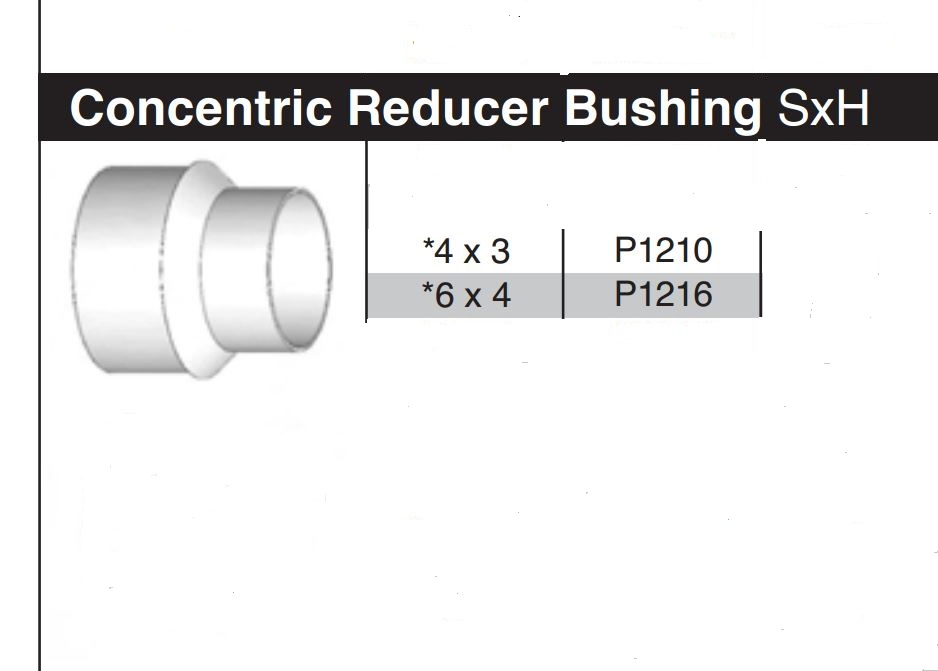 """4"""" x 3"""" Sewer & Drain Concentric Reducing Bushing P1210"""