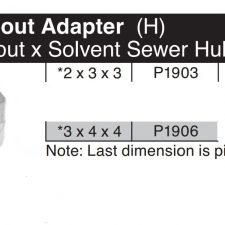 """3"""" x 4"""" x 4"""" Downspout (H) x Solvent Sewer Hub Adapter P1906"""