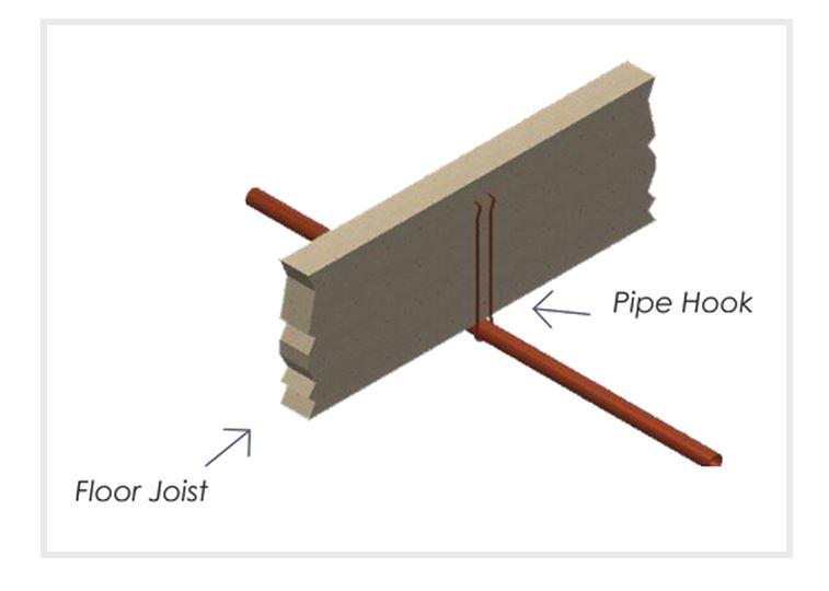 "1"" x 6"" Copper Coated Steel Pipe Hook"