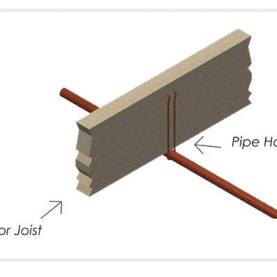 "1-1/4"" x 6"" Copper Coated Steel Pipe Hook"