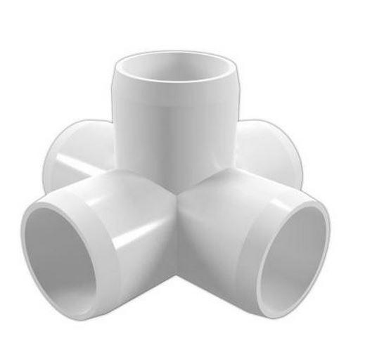 "1-1/4"" 5-Way PVC Furniture Cross"