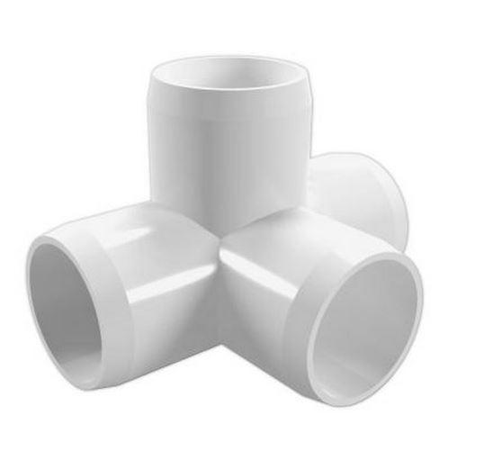 """1-1/4"""" 4-Way PVC Furniture Tee"""