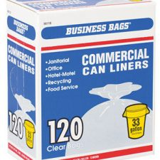 33 Gallon Business Bags Commercial Trash Can Liners .51Mil Clear 120pk
