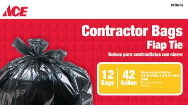 42 Gallon Contractor Bags 3Mil Black 12pk