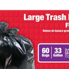 33 Gallon Large Trash Bag .85Mil Black 60pk