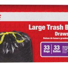 33 Gallon Large Drawstring Trash Bag 1.1Mil Black 33pk
