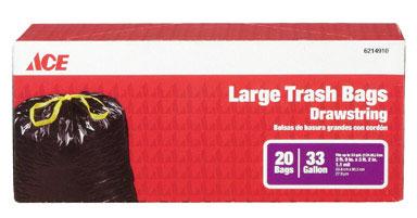 33 Gallon Large Drawstring Trash Bag 1.1Mil Black 20pk