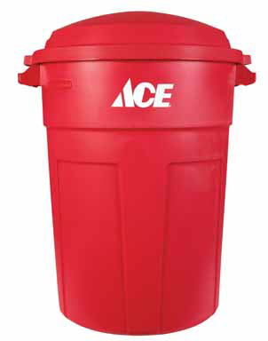 32 Gallon Refuse Can w/Lid Red