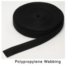 "1"" Polyweb Strap Black sold by the foot"