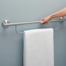 "24"" x 1"" Dia. Grab Bar with Attached Towel Bar Brushed Nickel"
