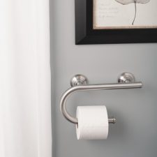 "8"" x 1"" Dia. Grab Bar with Toilet Paper Holder Brushed Nickel"