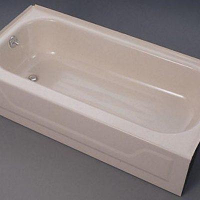 5ft Bootz Right Hand Drain Bathtub White Porcelain On Steel Left Pictured