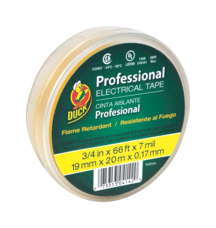 """Duck 3/4"""" x 66 ft. Vinyl Electrical Tape Yellow"""