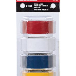 "3/4""  x 12 ft Plastic Electrical Tape 5pk Multi Color"