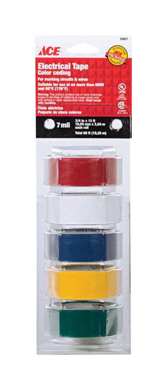 "3/4""  x 12 ft Plastic Electrical Tape 5pk Multi Color"