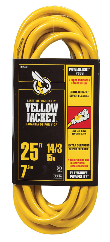 Yellow Jacket Extension Cord 14/3 SJTW-A, 25ft Yellow